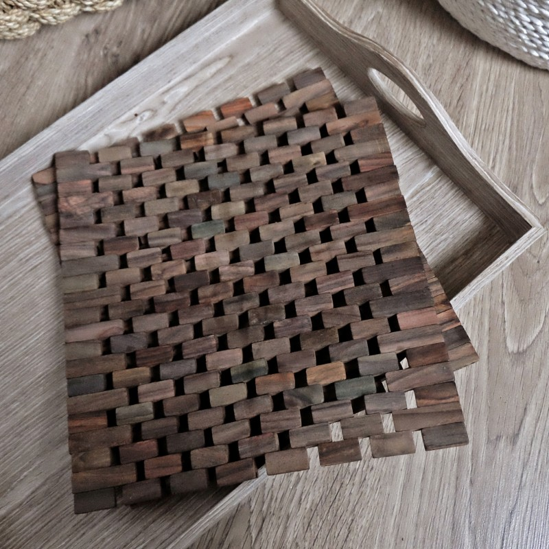 Dark Slatted Wood Placemats Set Of 2 Palmerhaus