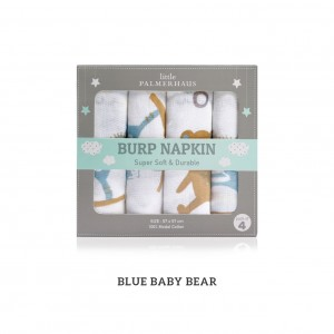 Baby Bear Blue Burp Napkin Set Of 4