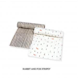 Rabbit & Fox Stripey Muslin Swaddle Set of 2  (BROWN)