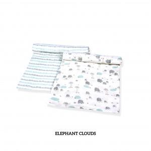 Elephant Clouds Muslin Swaddle Set of 2