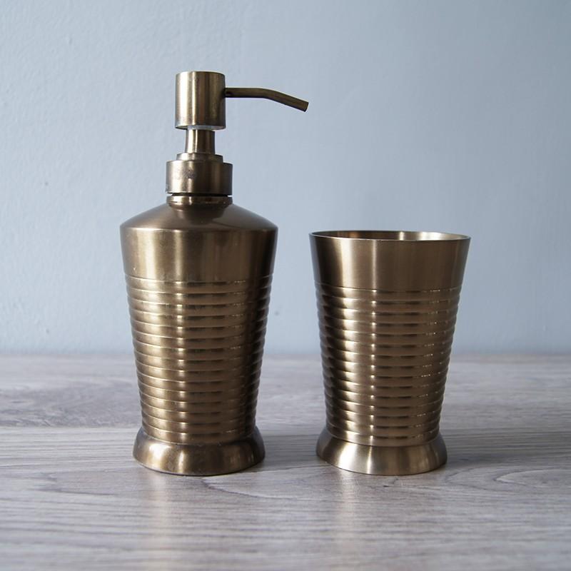 Brass stripe bath accessories set of 2 palmerhaus for Striped bathroom accessories sets