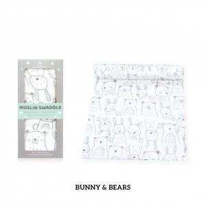 Bunny & Bears Muslin Swaddle (1 pc)