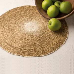 Round Woven Mat Cream Edge and Center