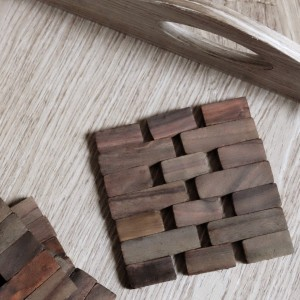 Dark Slatted Wood Coasters, Set of 4