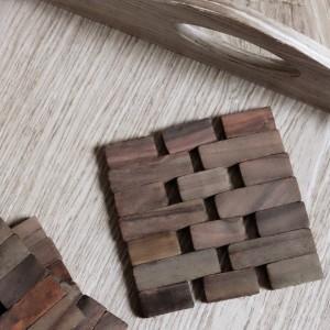 Dark Slatted Wood Coasters, Set of 4