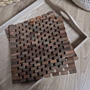 Dark Slatted Wood Placemats, Set of 2