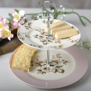 Katie Alice 'Cottage Flower' 2-Tier Cake Stand