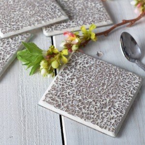 Mikasa Hush Set of 4 Crackle Glaze Coaster