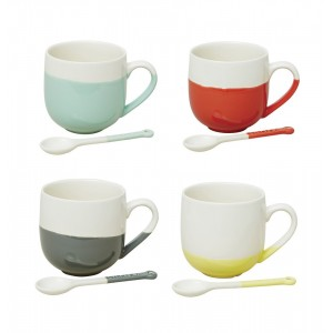 Colored Dipped Mugs w/ Spoon, Set of 4, Jamie Oliver