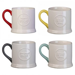 Embossed Mug, Set Of 4, Jamie Oliver