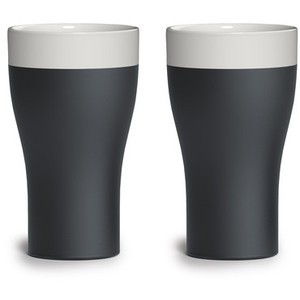 Terracotta Tumbler , Set of 2, Naturally Cooling Ceramics, Black/White, Magisso