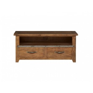 TV Cabinet 2 Drawer Smokehouse Rustic