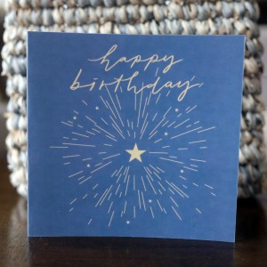 Happy Birthday Yellow Star Mini Greeting Card