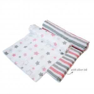 Pink Midnight Swaddle Set of 2
