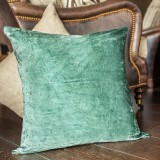 Vintage Aqua Linen Leather Pillow Cover