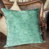 Vintage Aqua Linen Leather Pillow Cover