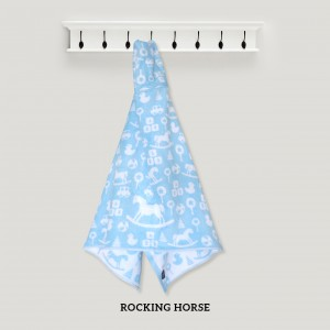 Rocking Horse BLUE Baby Hooded Towel