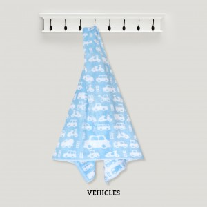 Vehicles BLUE Baby Hooded Towel