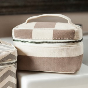 Stripe Brown Cosmetic Case