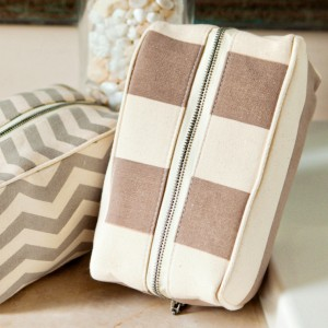 Stripe Brown Cosmetic Pouch