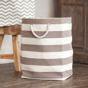 Stripe Brown Canvas Hamper
