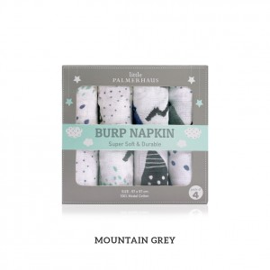Mountain Grey Burp Napkin Set Of 4