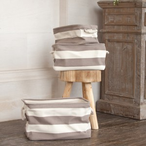 Stripe Brown Canvas Storage, Set of 3