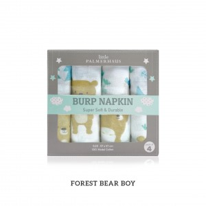 Forest Bear Boy Green Burp Napkin Set Of 4
