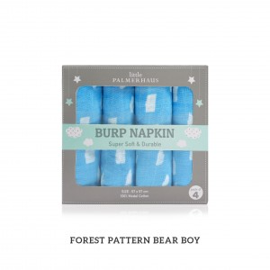 Forest Pattern Boy Green Burp Napkin Set Of 4