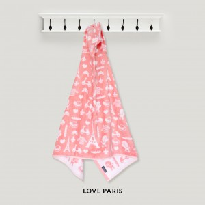 Love Paris PINK Hooded Towel