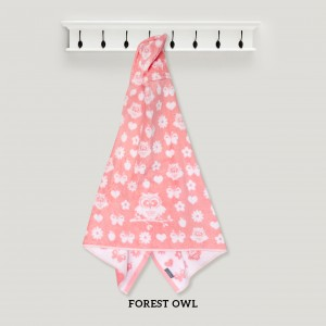 Forest Owl PINK Hooded Towel