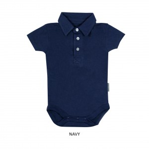 NAVY Boy Collar Bodysuit Short Sleeve (Jumper)