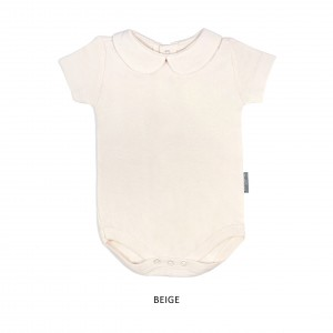 BEIGE Girl Collar Bodysuit Short Sleeve (Jumper)