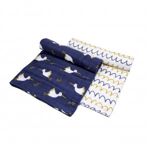 Dreamy Stork Muslin Swaddle Set of 2 (Boy)