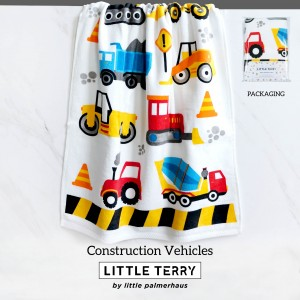 CONSTRUCTION VEHICLES LITTLE TERRY TOWEL
