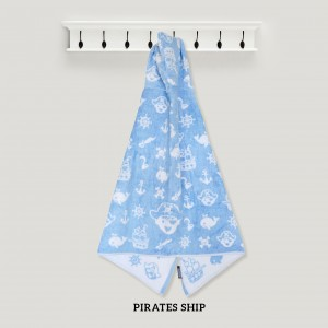 Pirates Ship BLUE Hooded Towel