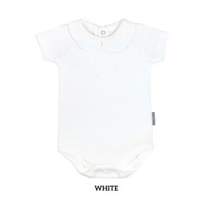 WHITE Girl Collar Bodysuit Short Sleeve (Jumper)