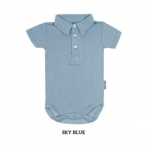 SKY BLUE Boy Collar Bodysuit Short Sleeve (Jumper)