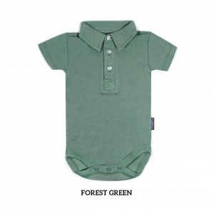FOREST GREEN Boy Collar Bodysuit Short Sleeve (Jumper)