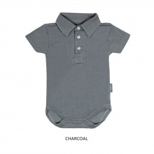 CHARCOAL Boy Collar Bodysuit Short Sleeve (Jumper)