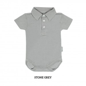 STONE GREY Boy Collar Bodysuit Short Sleeve (Jumper)