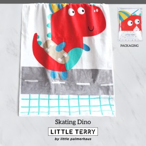 SKATING DINO LITTLE TERRY TOWEL