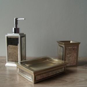 Antique Glass Bath Accessories, Set of 3