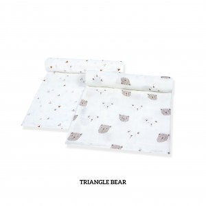 Triangle Bear Muslin Swaddle Set of 2