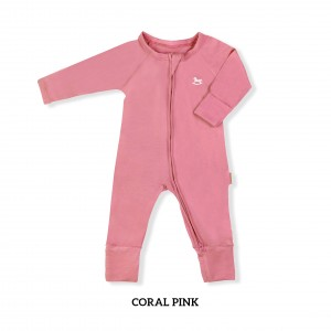 CORAL PINK Baby Sleepsuit