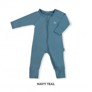 NAVY TEAL Baby Sleepsuit