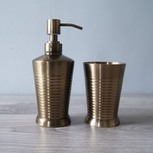 Brass Stripe Bath Accessories, Set of 2