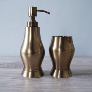 Antique Brass Bath Accessories, Set of 2