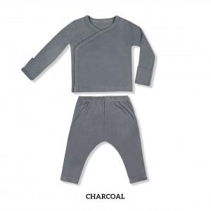 CHARCOAL Baby Kimono Long Sleeve Set