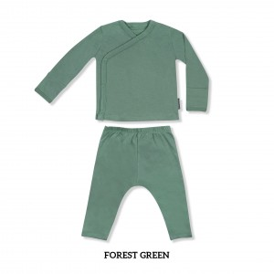 FOREST GREEN Baby Kimono Long Sleeve Set